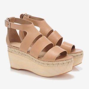 Loeffler Randall Platform Leather Sandals Nude 9